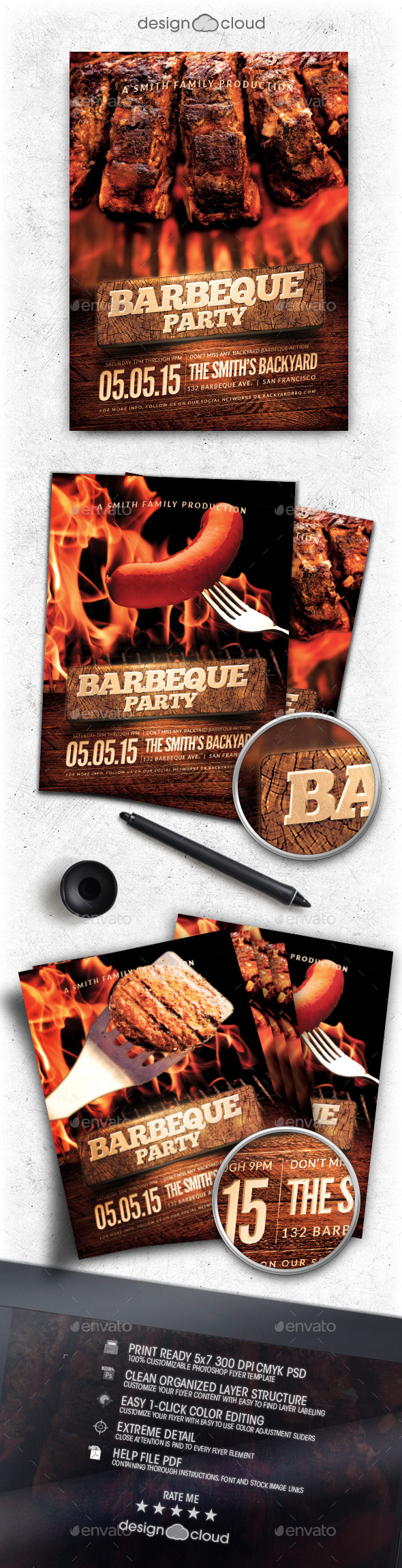 BBQ Party Flyer Template - Clubs & Parties Events