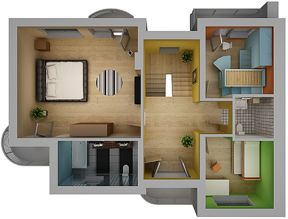 Home Interior Floor Plan 02 - 3DOcean Item for Sale