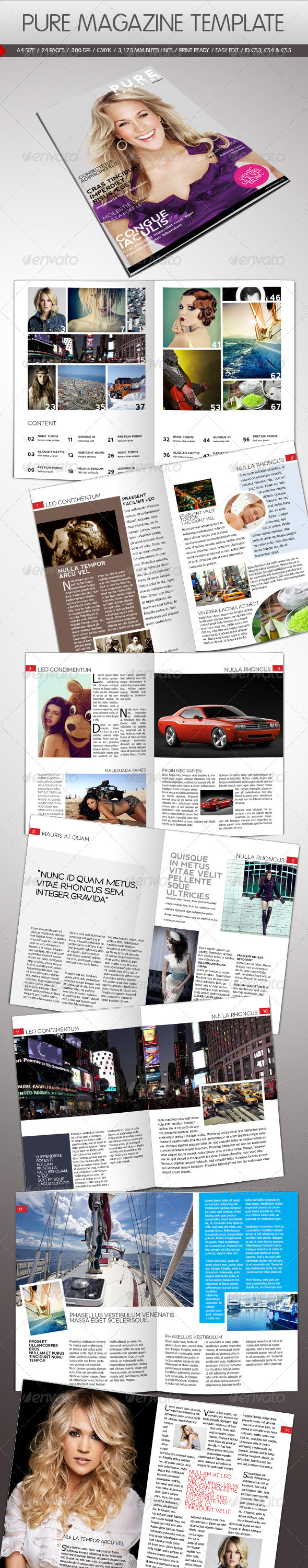 Pure Magazine Template - Magazines Print Templates