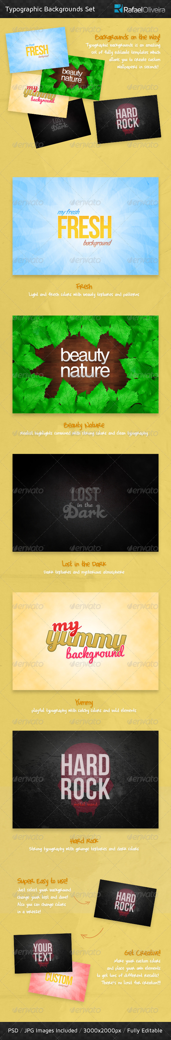 Typographic Backgrounds Set - Backgrounds Graphics