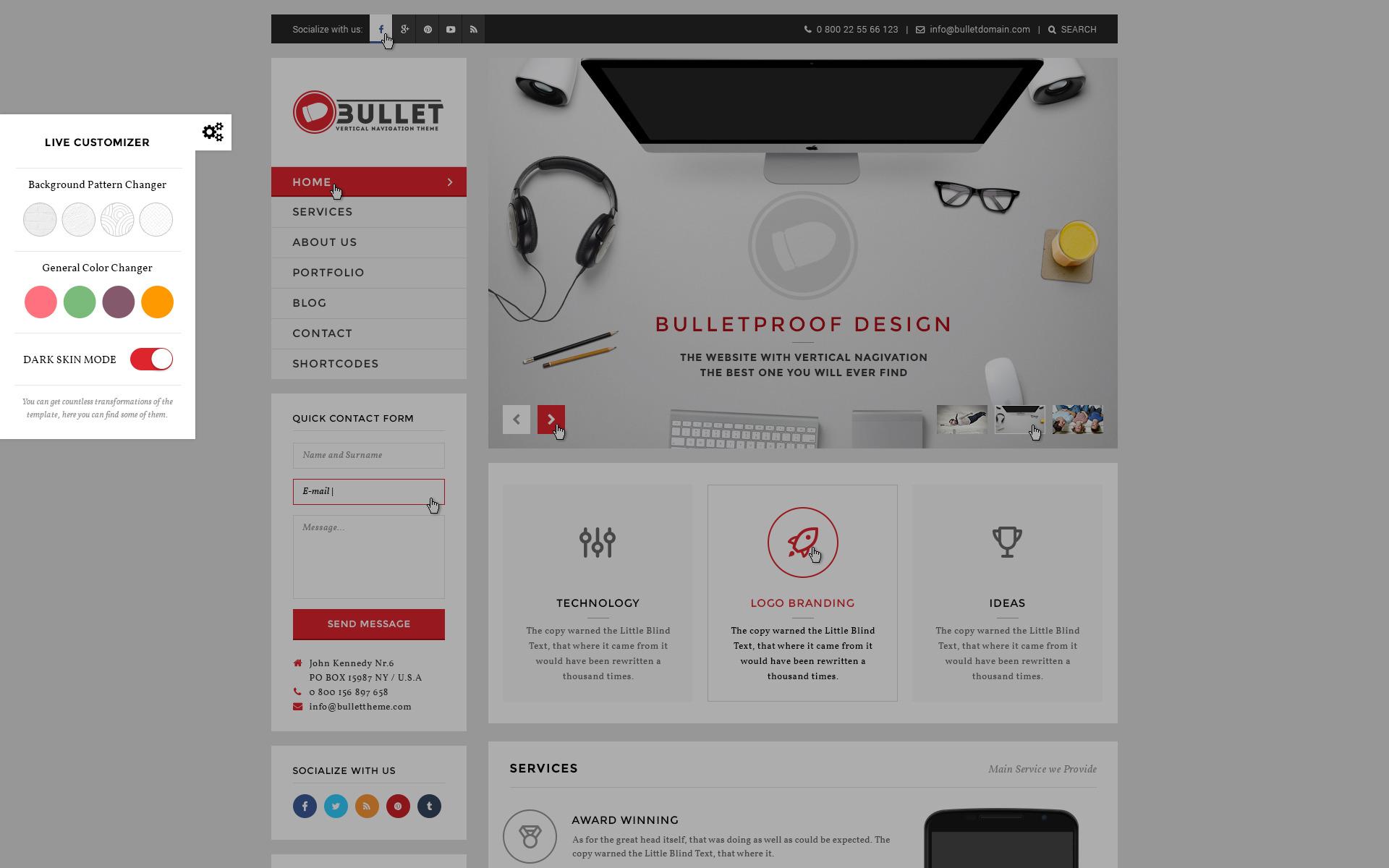 Bullet - Multipurpose Vertical Menu PSD Template