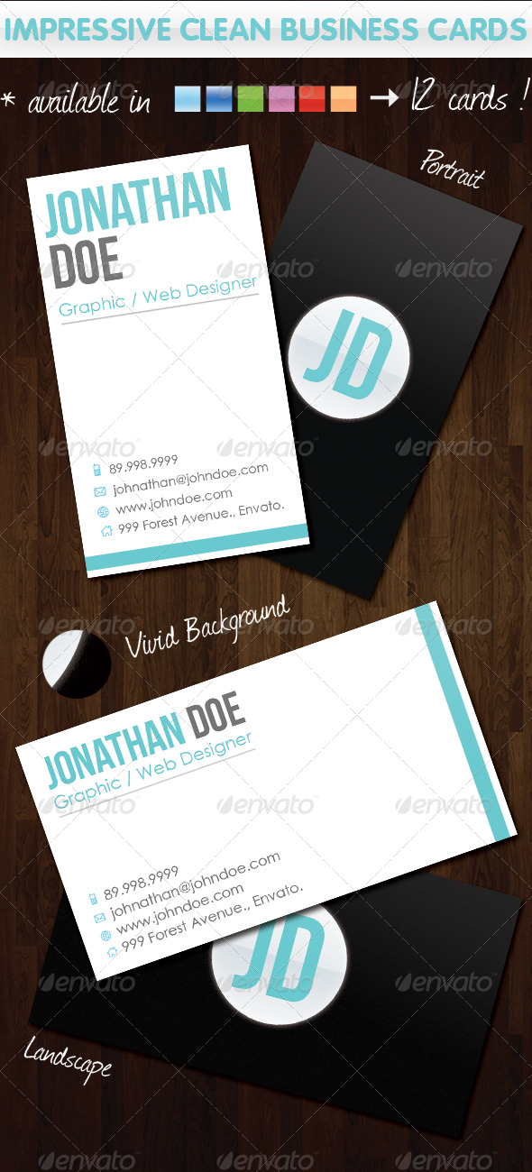 Impressive Clean Business Cards - Corporate Business Cards