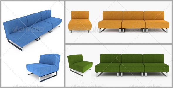 Set of furniture. 3D illustration. - Objects 3D Renders