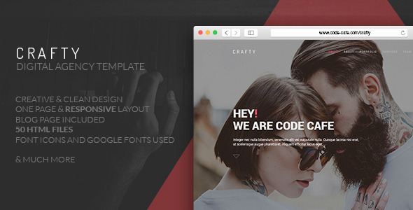 Crafty – One Page Digital Agency Template