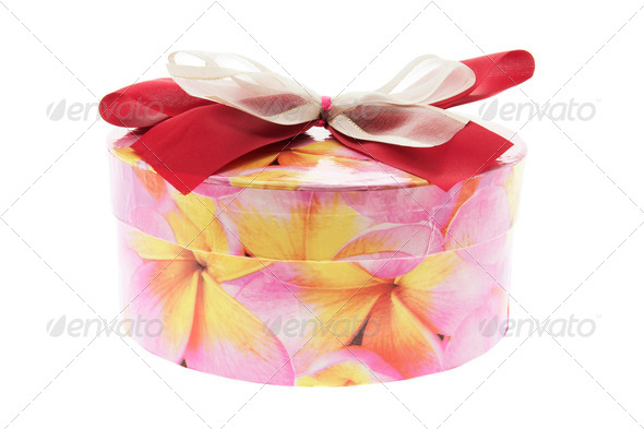 Round Gift Box with Bow - Stock Photo - Images