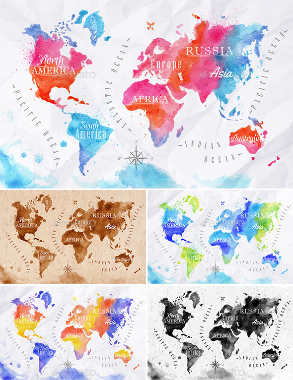Watercolor world map by anna42f graphicriver watercolor world map travel conceptual gumiabroncs Choice Image