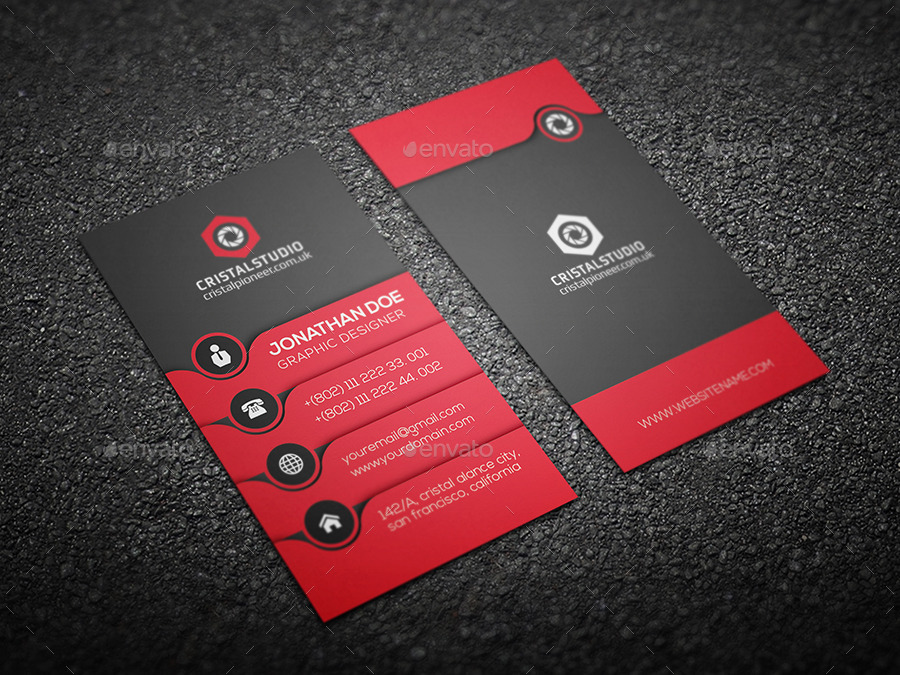 Creative Business Card-Vertical by CRISTAL_P | GraphicRiver