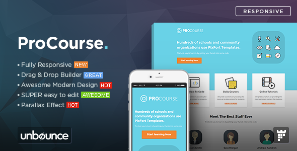 ProCourse - Unbounce eCourse Landing Page Template - Unbounce Landing Pages Marketing