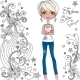 Fashion Hipster Girl with Doodles and Stars - GraphicRiver Item for Sale