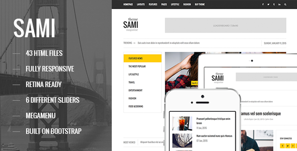 SAMI - Responsive Magazine/Blog HTML Template - Entertainment Site Templates