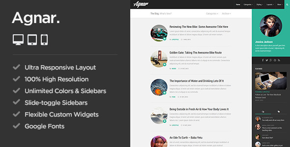 Agnar – Responsive WordPress Personal Blog Theme