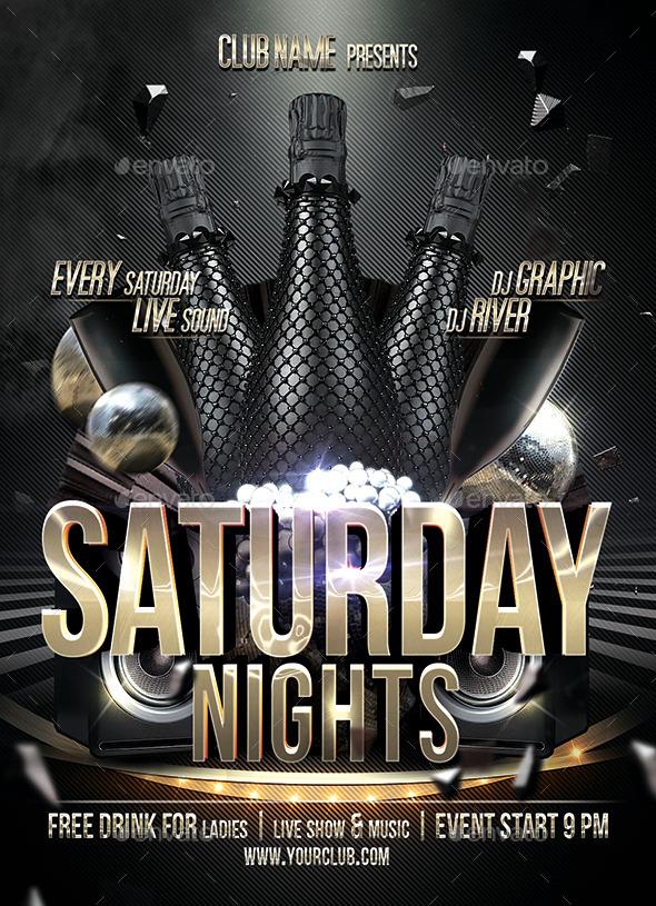u0026quot saturday night u0026quot  flyer print template by ju maj