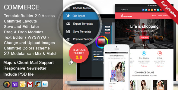 Commerce Responsive Email + Template Builder Acces - Newsletters Email Templates