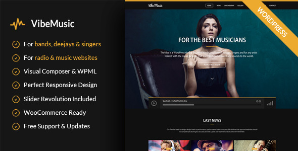 VibeMusic - Musicians, Deejays, Singers, Bands WordPress Theme - Music and Bands Entertainment