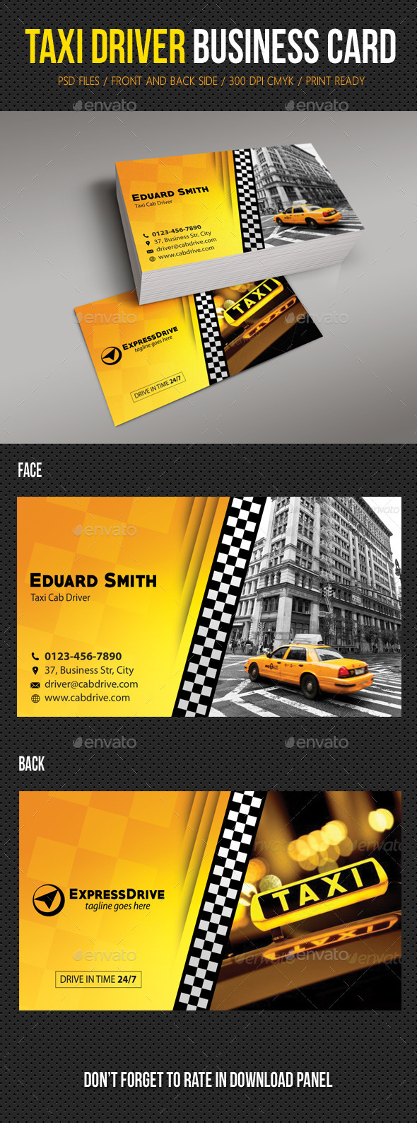 Taxi Driver Cab Business Card by rapidgraf | GraphicRiver