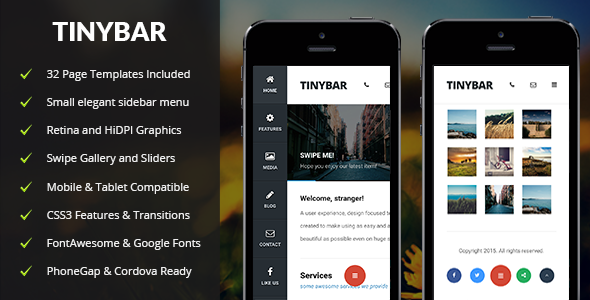 Tinybar | Mobile & Tablet Responsive Template