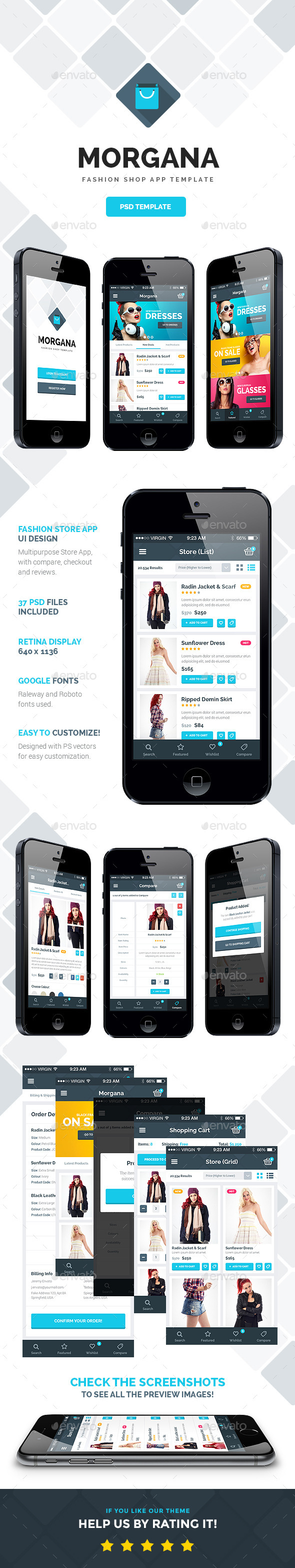 Morgana Fashion Shop - PSD App Template - User Interfaces Web Elements