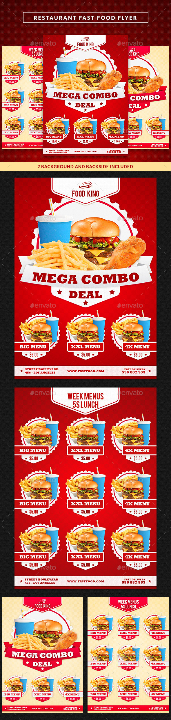 Restaurant Fast Food Menu Flyer by GilleDeVille | GraphicRiver