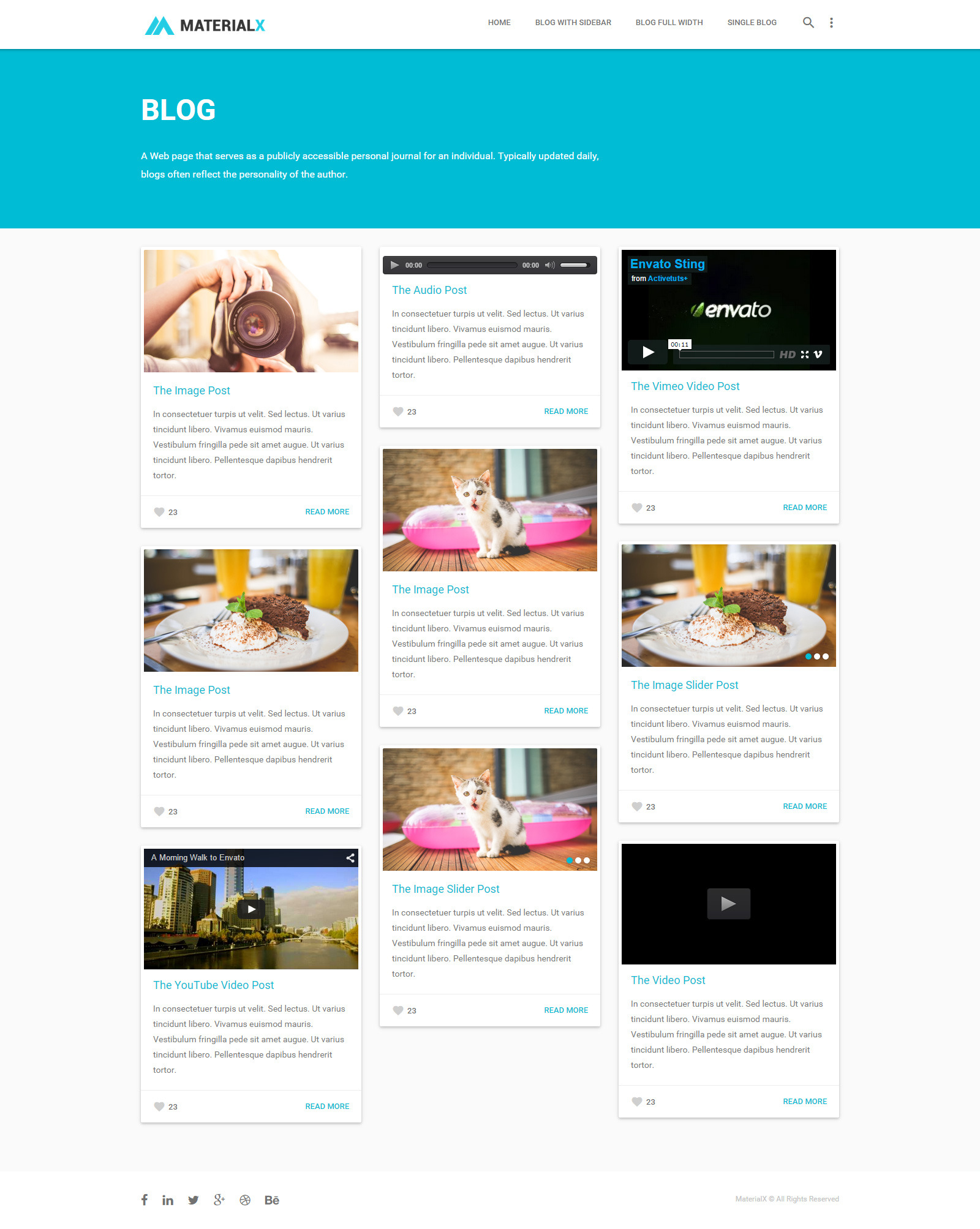 squarespace templates with sidebar - materialx material design personal template by bdinfosys