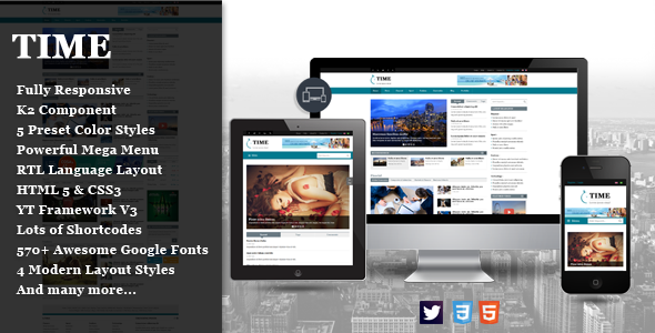 SJ Time – Responsive News Portal Joomla Template