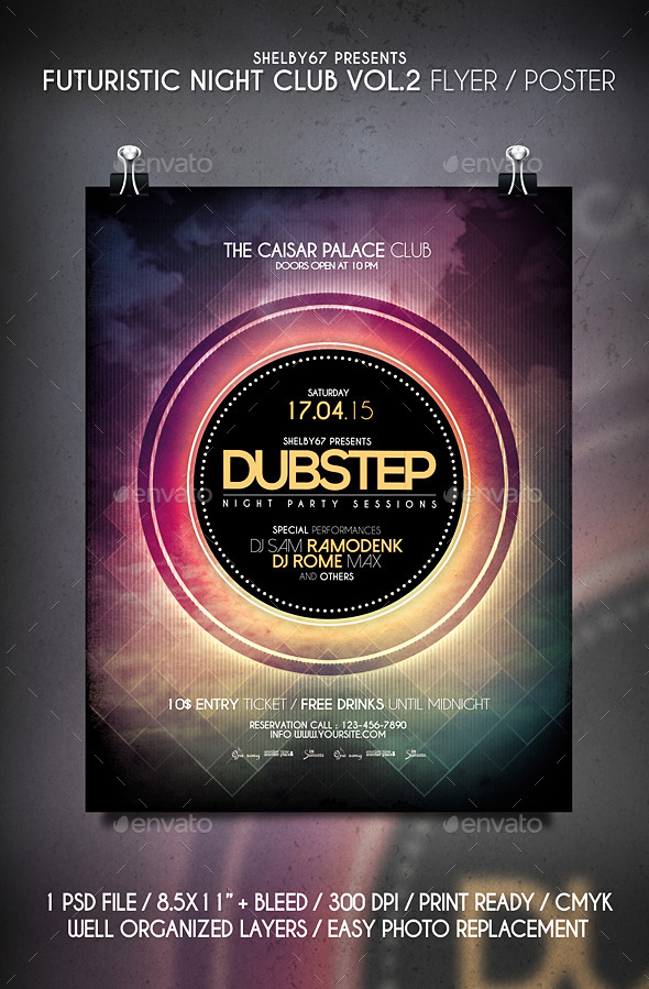 Futuristic Night Club Flyer / Poster Vol 2 - Clubs & Parties Events