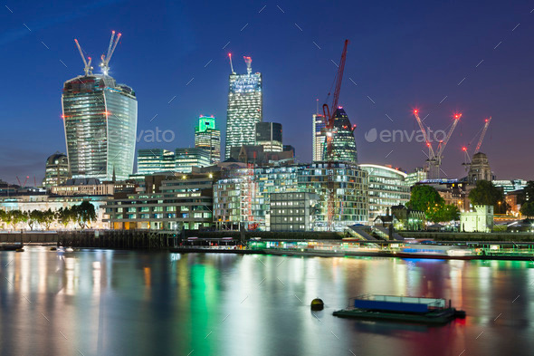 City of London and Thames River At Night - Stock Photo - Images