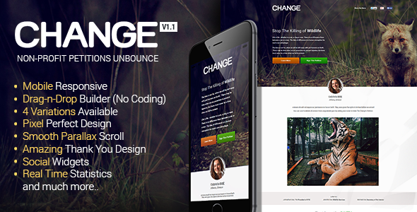 Change – Petitions Responsive Unbounce Template
