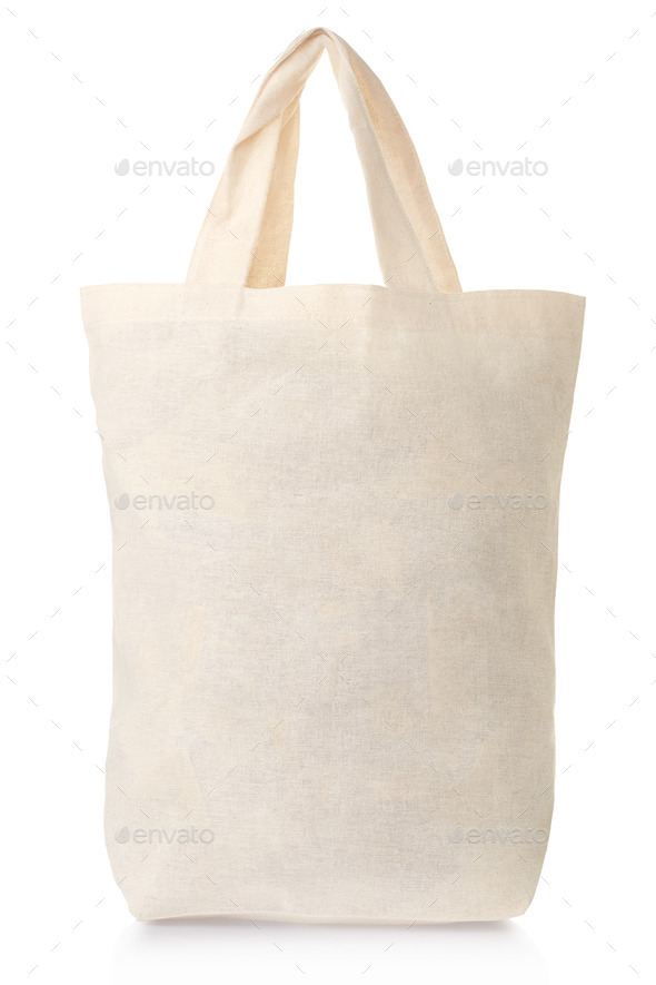 Fabric canvas full bag isolated on white - Stock Photo - Images