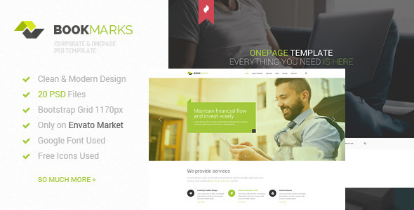 BookMarks – Corporate & OnePage PSD Template