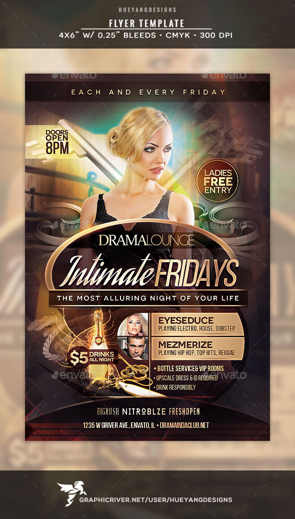 Intimate Fridays Flyer - Clubs & Parties Events
