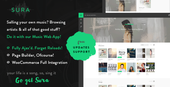Sura – A Music Web App WordPress Theme