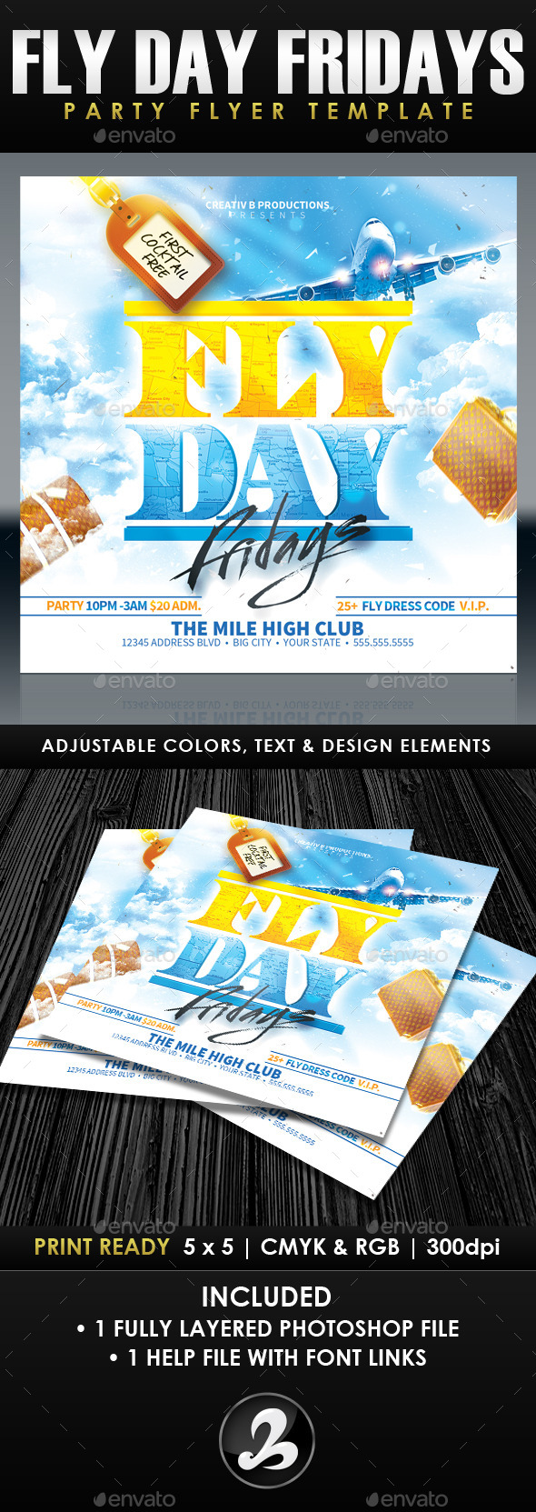 Fly Day Fridays Party Flyer Template - Clubs & Parties Events