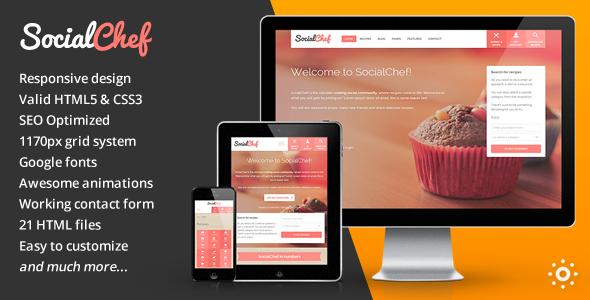 SocialChef – Social Recipe HTML Template