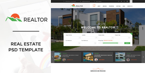Realtor | Real Estate PSD Template - Business Corporate