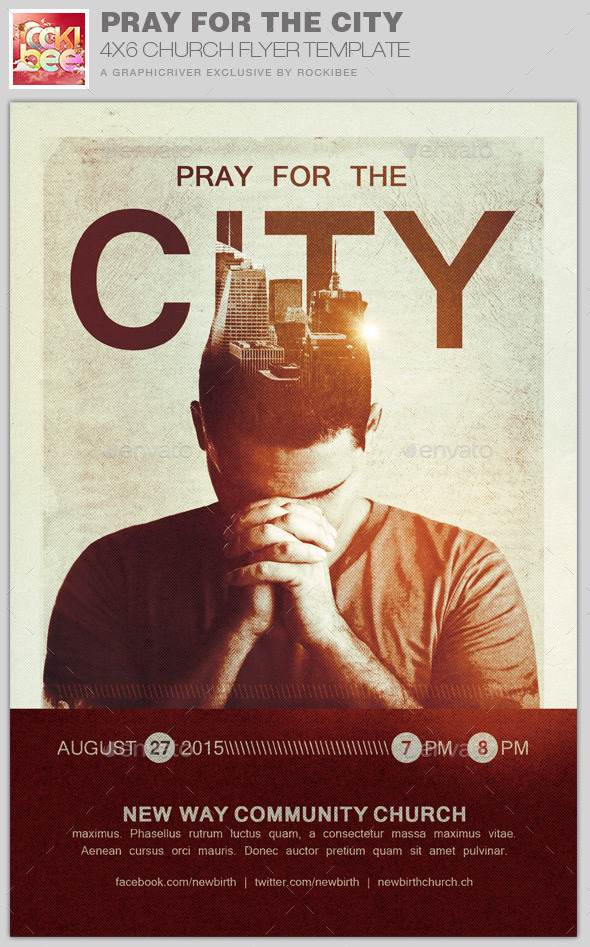 Pray for the City Church Flyer Template by Rockibee | GraphicRiver