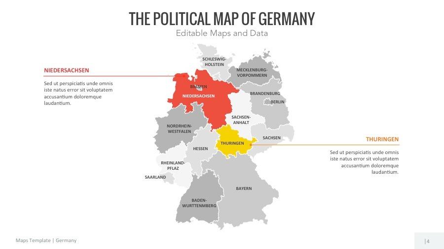 Germany Map Editable Map Presentation By Slidekingdom GraphicRiver - Germany map hd image