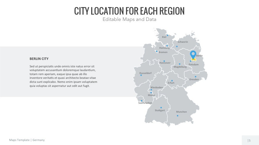 Germany Map Editable Map Presentation By Slidekingdom GraphicRiver - Germany map hd