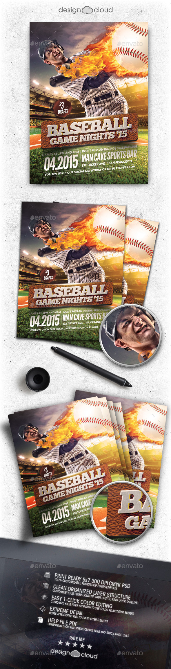 Baseball Game Nights Flyer Template - Sports Events
