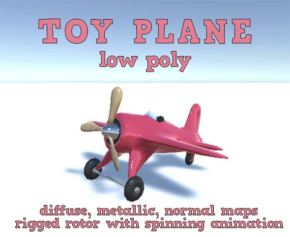 Low Poly Toy Plane - 3DOcean Item for Sale
