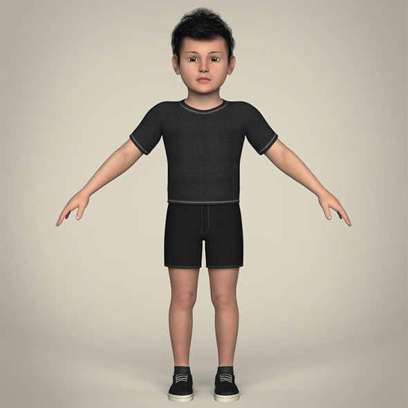 Realistic Little Boy - 3DOcean Item for Sale