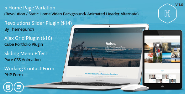 Hubaa – One Page Responsive HTML Template