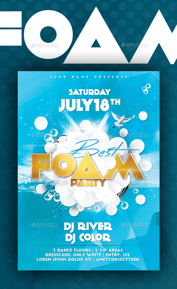 Foam Party Flyer/Poster - Flyers Print Templates