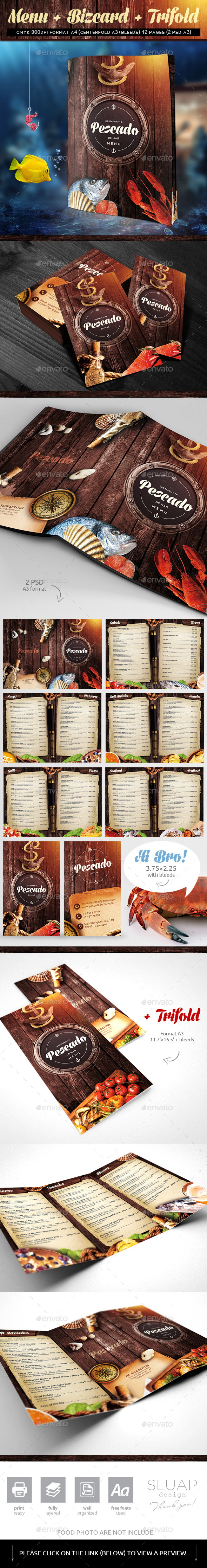 Menu + bizcard - Food Menus Print Templates