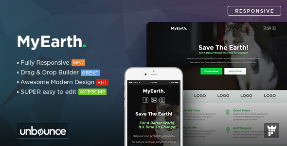 MyEarth – Nonprofit Unbounce Landing Page Template