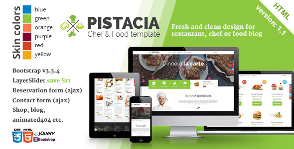 Pistacia – Chef & Food HTML5 Template