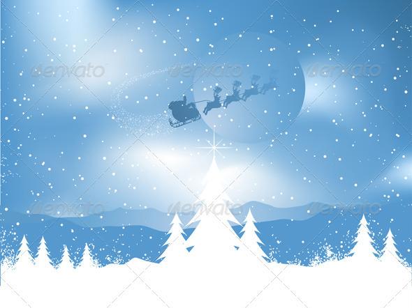 Santa in the sky - Christmas Seasons/Holidays