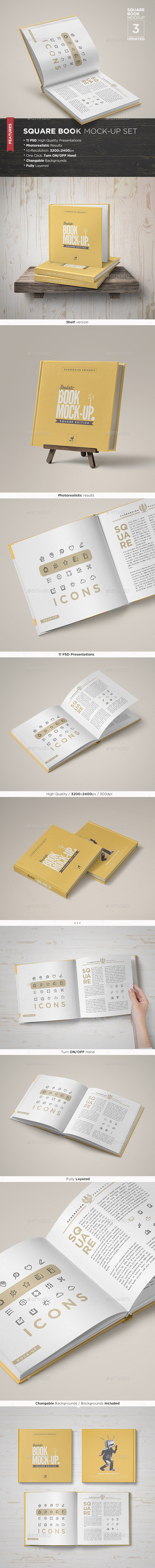 Square Book Mock-Up Set 3 - Books Print