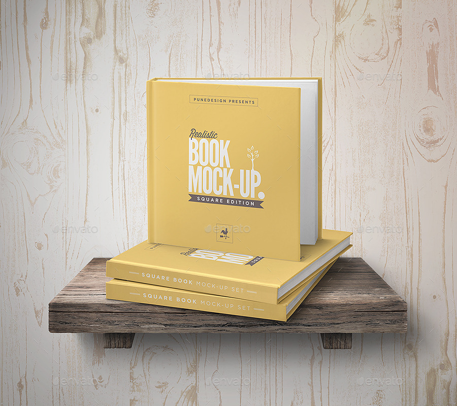 Square Book Mock-Up Set 3 By Punedesign