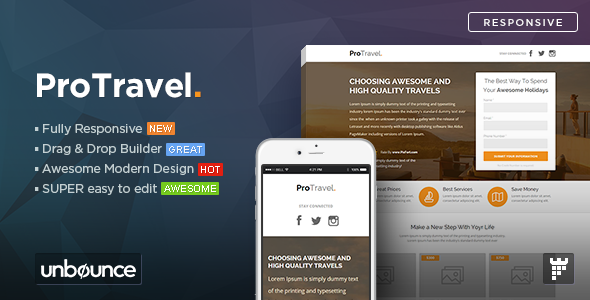 ProTravel – Travel Agency Unbounce Template