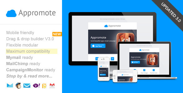 Appromote, Responsive Email Template for App Promo - Email Templates Marketing